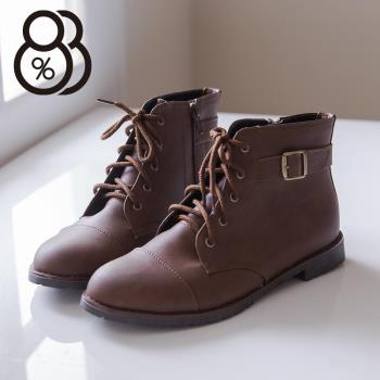 【88%】MIT台灣製 個性輕旅行 皮革素面側拉鍊綁帶式 粗低跟超舒適短靴 機車靴 2色
