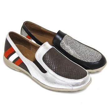 【GREEN PHOENIX】BIS-VITAL 皮革壓紋直條撞色義大利羊皮平底輕量休閒鞋-咖啡色、黑色