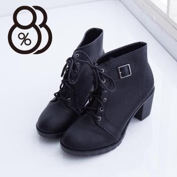 【88%】MIT台灣製 時尚扣環設計繫帶率性皮革粗跟短靴 機車靴 2色