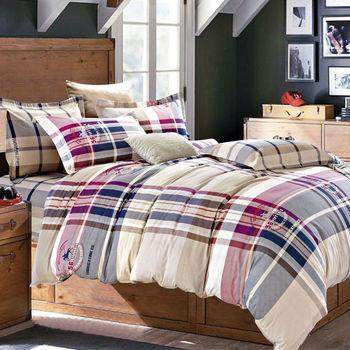 【FOCA-愛情公寓】加大-100%精梳棉四件式鋪棉兩用被床包組
