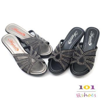 【cher美鞋】鑽透氣網高雅美拖鞋(黑色/灰色)-2210-03