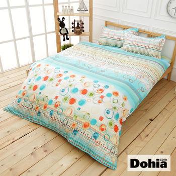 《Dohia-清沫璃玉》雙人四件式精梳純棉兩用被薄床包組