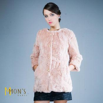 MONS蕾絲扣飾兔毛長版外套