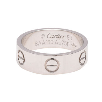Cartier卡地亞 經典LOVE RING 18K白K金婚戒 (#53)