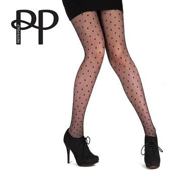 【摩達客】英國進口【Pretty Polly】小圓點設計透明彈性褲襪