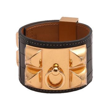 HERMES collier de chien金屬鉚釘鱷魚皮寬版手環(S-黑X金)