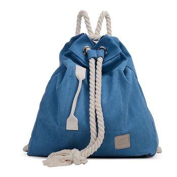 【Acorn*橡果】森林系學院風帆布後背包6547(藍色)