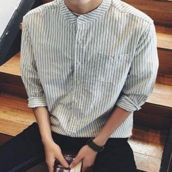【協貿國際】條紋襯衫男士韓版立領七分袖襯衣男裝上衣單件