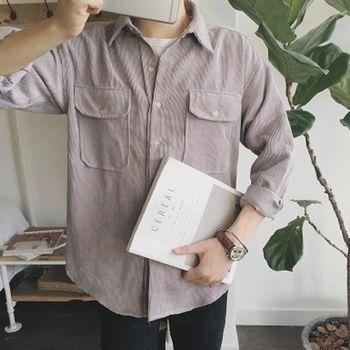 【協貿國際】燈芯絨長袖襯衣韓版青年純色復古休閒襯衫男單件