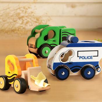 【樂兒學】兒童模型車木製學習積木-推土機(黃)+翻斗車(綠)+警車