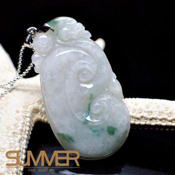 【SUMMER寶石】天然緬甸A貨翡翠如意項鍊(QE-13-隨機出貨)