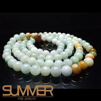 【SUMMER寶石】天然緬甸A貨翡翠三彩108顆念珠項鍊(QE-3-隨機出貨)