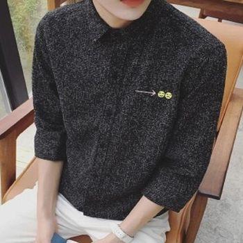 【協貿國際】笑臉刺繡襯衫男士純色七分袖襯衣韓版潮流寬鬆版寸衫單件