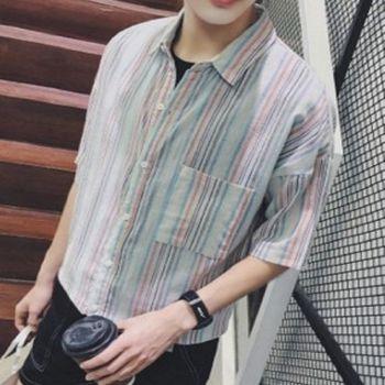 【協貿國際】男士韓版寬鬆短袖襯衣青少年半袖上衣男單件