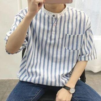 【協貿國際】條紋立領短袖襯衫韓版薄款半袖襯衣男單件