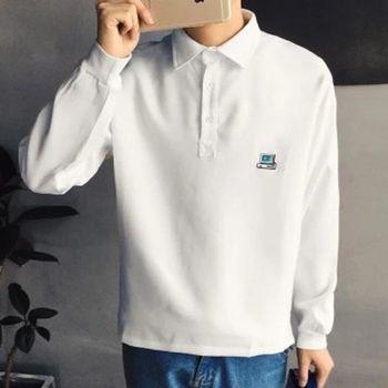【協貿國際】男士韓版寬鬆型長袖POLO衫秋裝上衣男單件