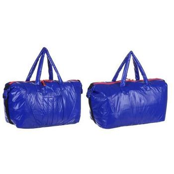 【PUMA】FIT AT運動袋 -側背包 肩背包 旅行袋 手提袋 藍螢光粉