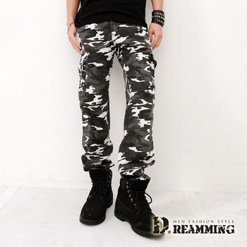 【Dreamming】韓風BIGBANG天團穿搭伸縮迷彩休閒長褲(白色)