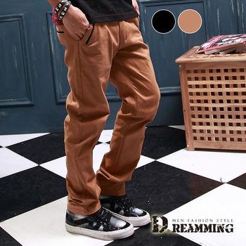 【Dreamming】雅痞風滾邊口袋斜紋布休閒長褲(共二色)