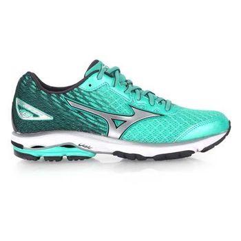 【MIZUNO】女慢跑鞋 WAVE RIDER 19- 路跑 慢跑 美津濃 綠銀