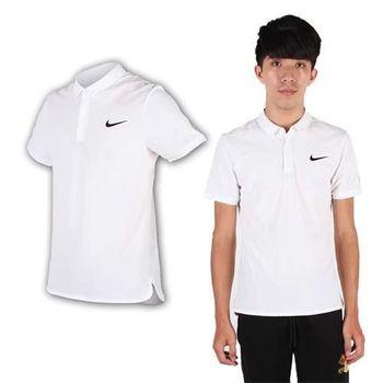 【NIKE】男翻領短袖針織衫- POLO衫 短T 費德勒 網球 白黑  吸溼快乾設計