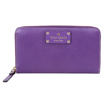 Kate spade  金色logo皮標拉鍊長夾(紫)