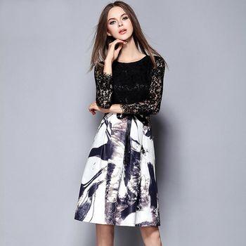 【M2M】鏤空蕾絲拼接水墨高腰長袖連衣裙