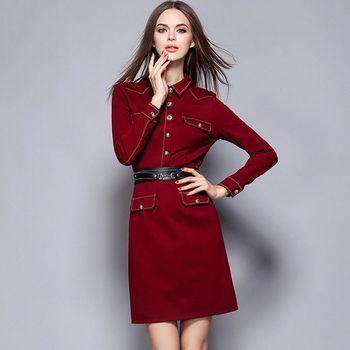 【M2M】翻領工作服設計修身長袖連衣裙
