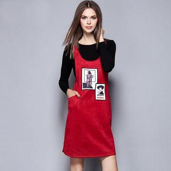 【M2M】針織黑長袖上衣紅色吊帶裙休閒套裝