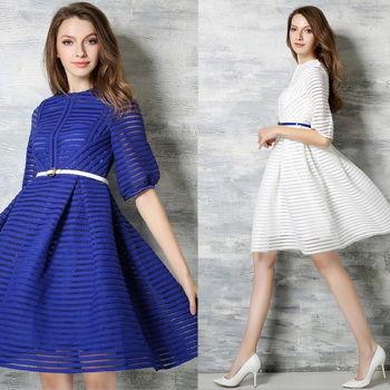 【理子時尚】純色條紋鏤空中袖蓬蓬裙洋裝(共二色)