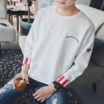 【協貿國際】字母愛心刺繡套頭衫男士韓版休閒圓長袖單件