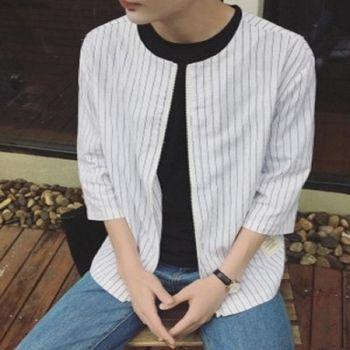 【協貿國際】男士七分袖襯衫韓版拉鍊門禁修身條紋單件