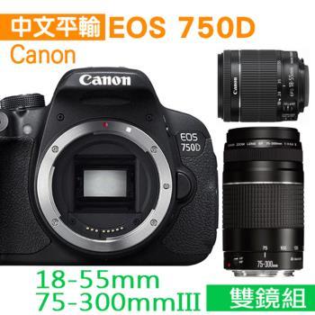 【64G+副電*2+座充組】Canon EOS 750D +18-55mm+75-300mm III雙鏡組(中文平輸)