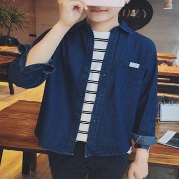 【協貿國際】牛仔襯衫男士修身百搭款長袖上衣單件