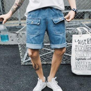 【協貿國際】五分褲日系男士牛仔短褲潮流口袋中褲工裝褲單件