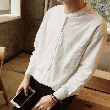 【協貿國際】中國風男士立領長袖修身男襯衫純色單件