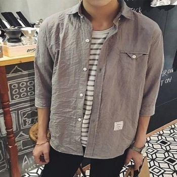 【協貿國際】純色寬鬆七分袖襯衫男士小清新半袖襯衣男單件