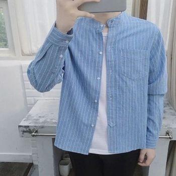 【協貿國際】長袖襯衣男士韓版秋裝立領襯衫單件