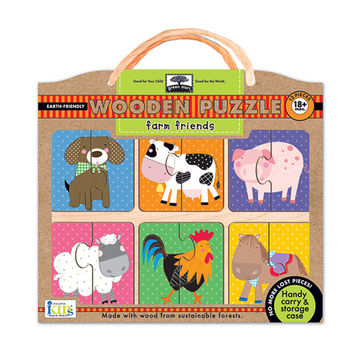 美國innovativeKids寶寶木拼圖-農場動物(12片組)