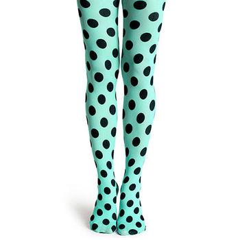 【摩達客】瑞典進口【Happy Socks】綠色圓點彈性褲襪