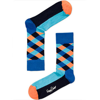 【摩達客】瑞典進口【Happy Socks】藍橘菱格中統襪