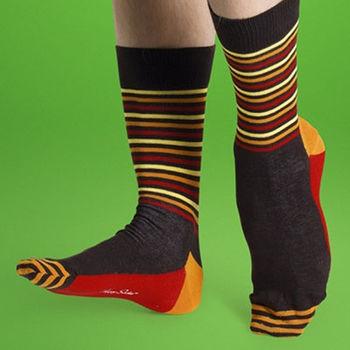 【摩達客】瑞典進口【Happy Socks】棕紅黃半橫紋中統襪