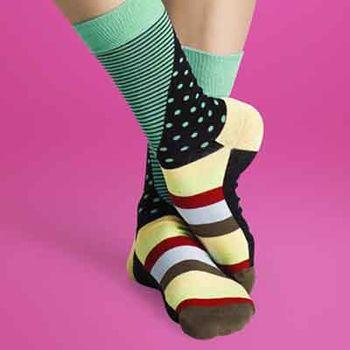 【摩達客】瑞典進口【Happy Socks】綠藍橫紋圓點中統襪