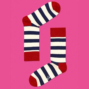 【摩達客】瑞典進口【Happy Socks】紅藍白橫紋中統襪