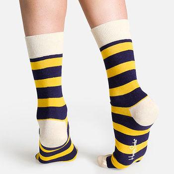 【摩達客】瑞典進口【Happy Socks】藍黃橫紋中統襪