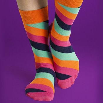 【摩達客】瑞典進口【Happy Socks】橘粉藍斜紋中統襪