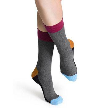 【摩達客】瑞典進口【Happy Socks】五色灰底中統襪