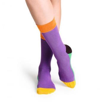 【摩達客】瑞典進口【Happy Socks】五色紫底中統襪