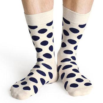 【摩達客】瑞典進口【Happy Socks】白底藍圓點中統襪