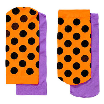【摩達客】瑞典進口【Happy Socks】橘黑圓點+紫色短襪兩對組